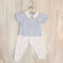 Load image into Gallery viewer, Little, Swan, Prince, Blue, Pima Cotton, Peter Pan Collar, Picot Trim, T-Shirt, Baby Boy, Matching Outfit, Luxury Baby Outfit