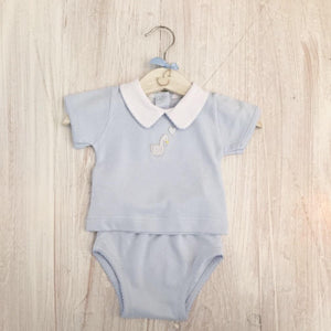 Little, Swan, Prince, Blue, Pima Cotton, Peter Pan Collar, Picot Trim, T-Shirt, Baby Boy, Matching Outfit, Luxury Baby Outfit