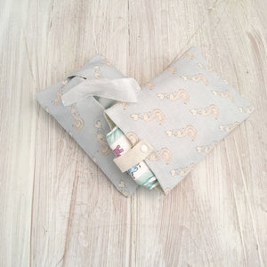 Wet Wipe | Pouch | Purse | Holder | Luxury Changing Bag | Organiser | Baby Boy | Linen | Swan | Prince