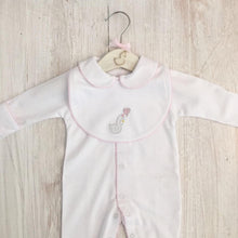 Load image into Gallery viewer, Little Swan Princess White Baby Grow Sleepsuit with Pink Picot Trim Collar Scratch Mittens Luxurious Soft Pima Cotton Baby Girl