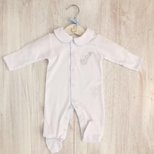 Load image into Gallery viewer, Little Swan Prince White Baby Grow Sleepsuit with Blue Picot Trim Collar Scratch Mittens Luxurious Soft Pima Cotton Baby Boy