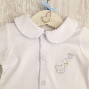 Little Swan Prince White Baby Grow Sleepsuit with Blue Picot Trim Collar Scratch Mittens Luxurious Soft Pima Cotton Baby Boy