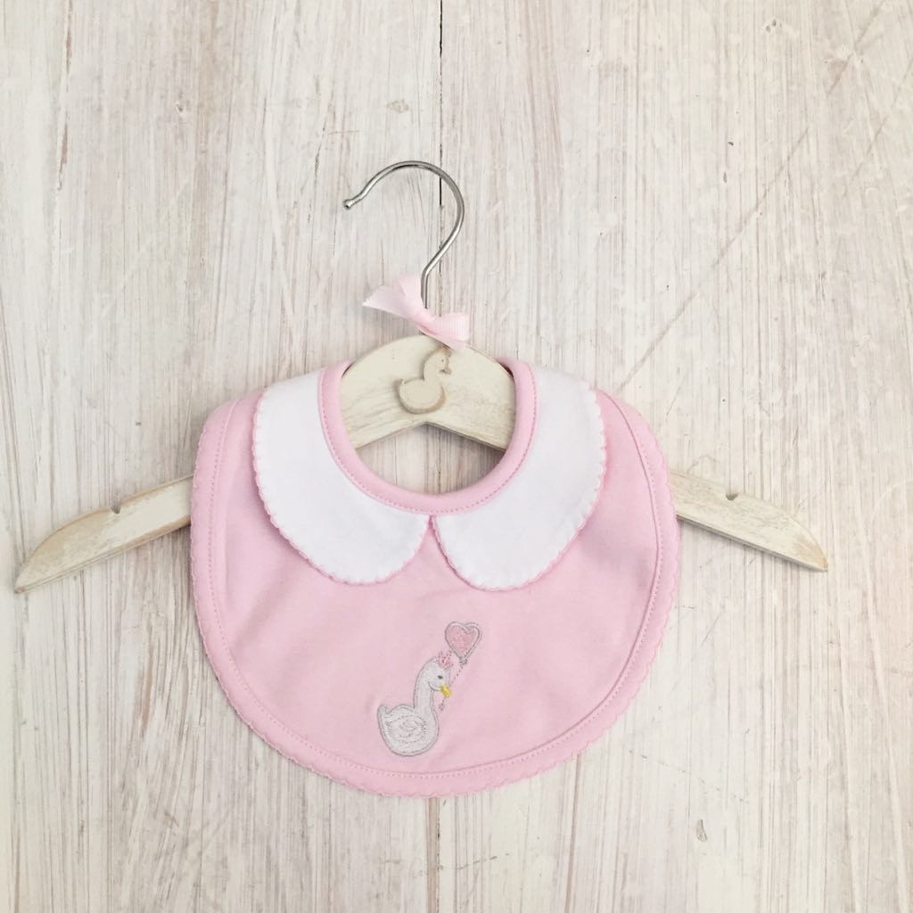 Little Swan Princess Baby Pink Peter Pan Collar Baby Bib Pink White Swan Pima Cotton Baby Shower Gift Christening Gift