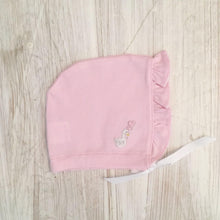 Load image into Gallery viewer, Little Swan Princess  Pink Picot Trim Luxury Pima Cotton Frilly Baby Bonnet New Born Gift Baby Gift Baby Girl 0-12 months Matching Bonnet