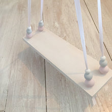 Load image into Gallery viewer, White Painted Wooden Swing Shelf, Pink, Grey & White Beads