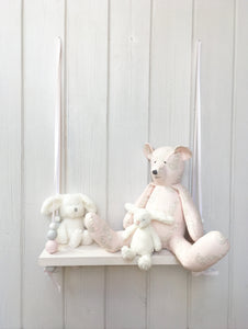 White Painted Wooden Swing Shelf, Pink, Grey & White Beads