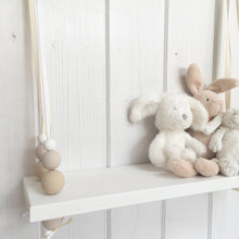 Load image into Gallery viewer, White Painted Wooden Swing Shelf, Oatmeal, Twine & White Beads