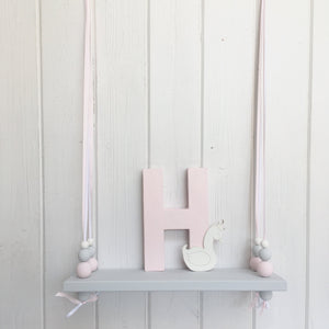Grey Painted Wooden Swing Shelf, Pink, Grey & White Beads