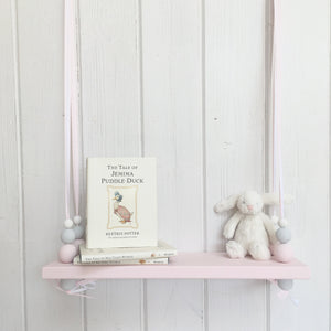 Pink Painted Wooden Swing Shelf, Pink, Grey & White Beads