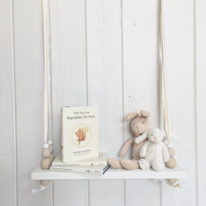 White Painted Wooden Swing Shelf, Oatmeal, Twine & White Beads