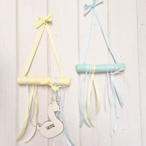 Easter Hanging Sign | Easter Decor | Easter Sign | Yellow | Turquoise | Tree Branch Hanging | Wall Decor | Easter | Swan | Easter Door Sign