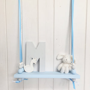 Blue Painted Wooden Swing Shelf, Blue, Grey & White Beads