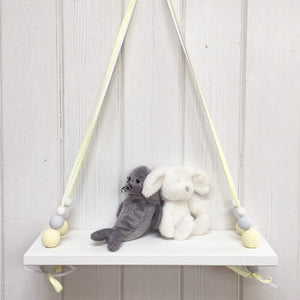 White Painted Wooden Swing Shelf, Yellow, Grey & White Beads