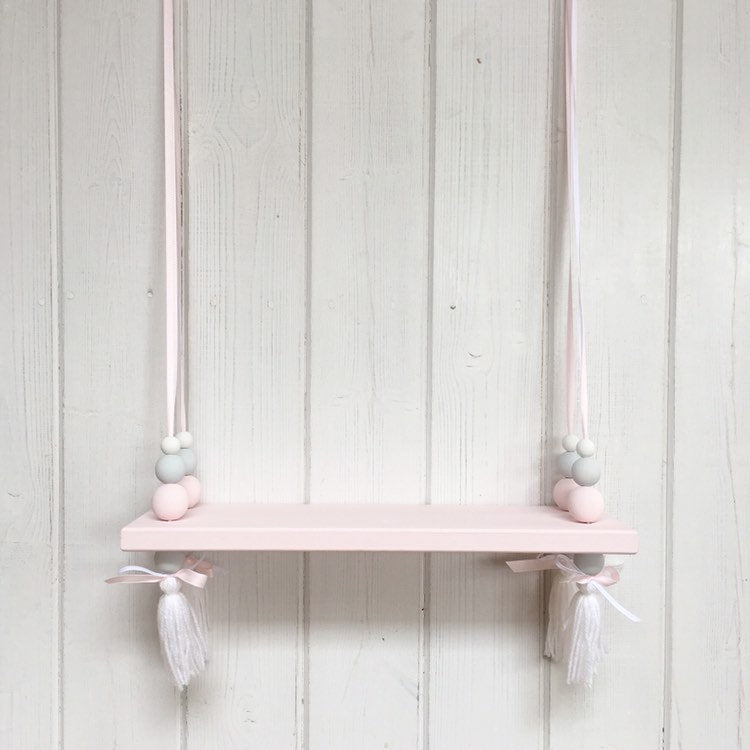 Pink Painted Wooden Swing Shelf with Tassels, Pink, Grey & White Beads