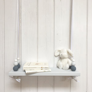 Grey Painted Wooden Swing Shelf, Slate, Grey & White Beads