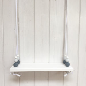 White Painted Wooden Swing Shelf, Slate, Grey & White Beads
