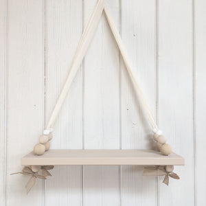 Oatmeal Painted Wooden Swing Shelf, Oatmeal,  & White Beads