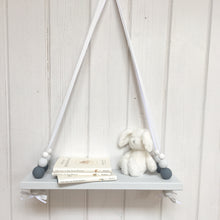Load image into Gallery viewer, Grey Painted Wooden Swing Shelf, Slate, Grey & White Beads