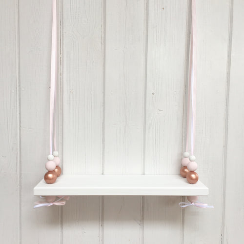 White Painted Wooden Swing Shelf, Rose Gold, Pink & White Beads