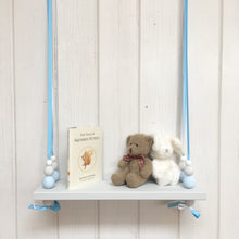 Load image into Gallery viewer, Grey Painted Wooden Swing Shelf, Blue, Grey & White Beads