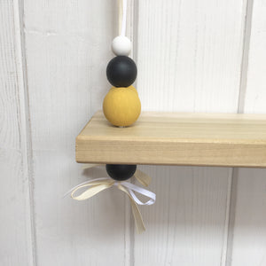 Natural Wooden Swing Shelf, Mustard, Black & White Beads
