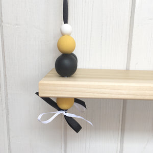 Natural Wooden Swing Shelf, Black, Mustard & White Beads