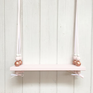Pink Painted Wooden Swing Shelf, Rose Gold, Pink & White Beads