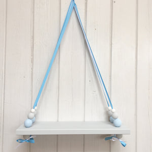 Grey Painted Wooden Swing Shelf, Blue, Grey & White Beads