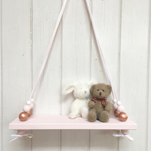 Load image into Gallery viewer, Pink Painted Wooden Swing Shelf, Rose Gold, Pink & White Beads