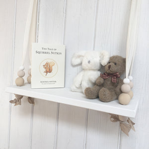White Painted Woooden Swing Shelf, Oatmeal,  & White Beads