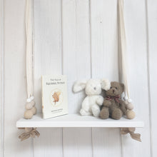 Load image into Gallery viewer, White Painted Woooden Swing Shelf, Oatmeal,  & White Beads