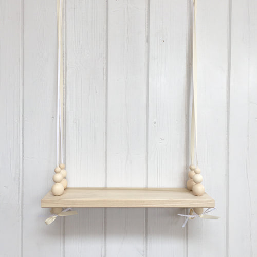 Natural Wooden Swing Shelf, Natural Beads