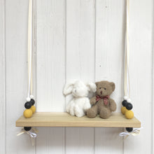 Load image into Gallery viewer, Natural Wooden Swing Shelf, Mustard, Black & White Beads