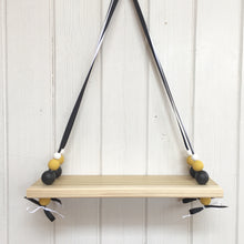 Load image into Gallery viewer, Natural Wooden Swing Shelf, Black, Mustard & White Beads