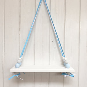 White Painted Wooden Swing Shelf, Blue, Grey & White Beads
