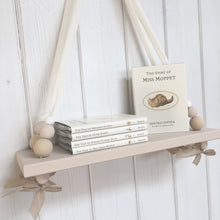 Load image into Gallery viewer, Oatmeal Painted Wooden Swing Shelf, Oatmeal,  & White Beads