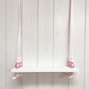 White Painted Wooden Swing Shelf, Shimmer Pink & White Beads