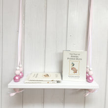 Load image into Gallery viewer, White Painted Wooden Swing Shelf, Shimmer Pink & White Beads
