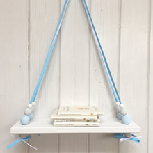 Load image into Gallery viewer, White Painted Wooden Swing Shelf, Blue, Grey & White Beads