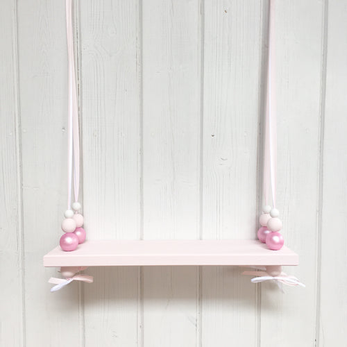 Pink Painted Swing Shelf, Shimmer Pink & White Beads