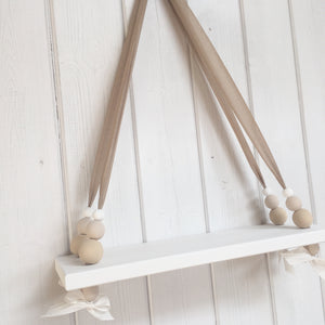 White Painted Wooden Swing Shelf, Oatmeal,  & White Beads