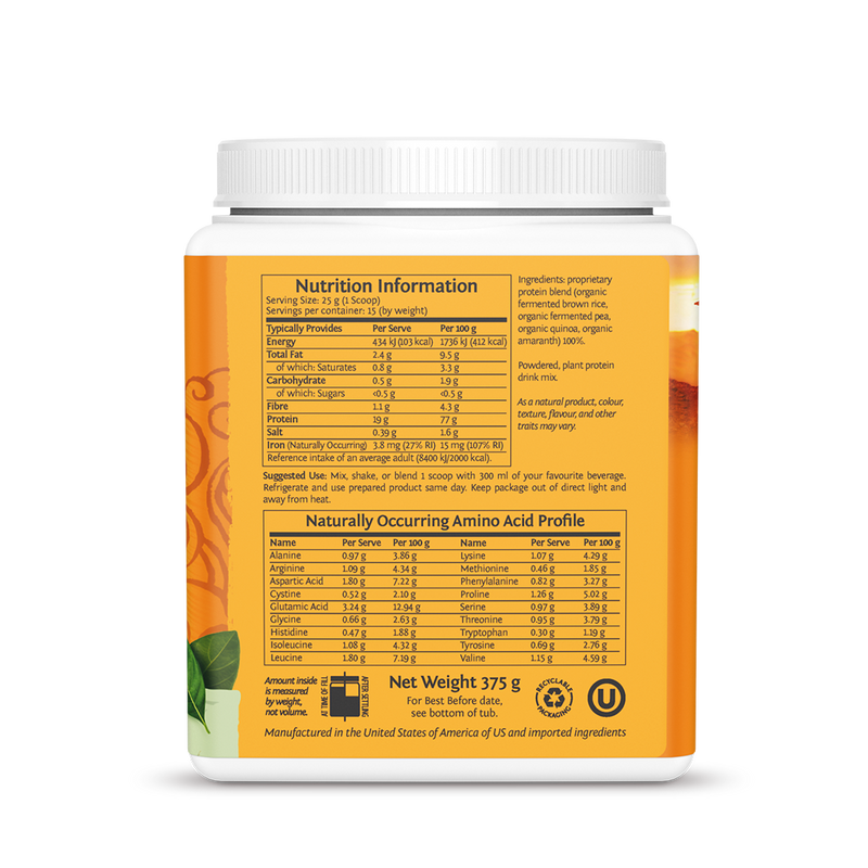 Sunwarrior Classic Plus Natural 375g ingredients