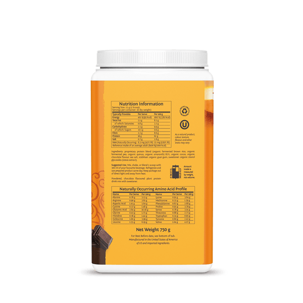 Sunwarrior Classic Plus Chocolate 750g ingredients