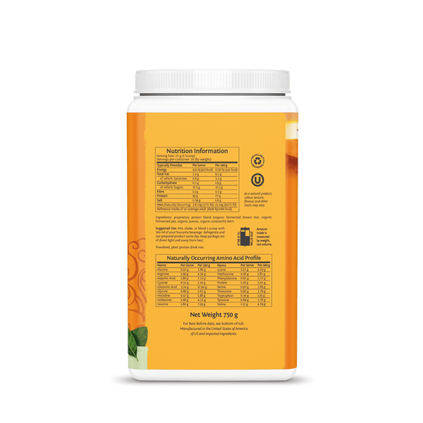 Sunwarrior Classic Plus Natural 750g ingredients