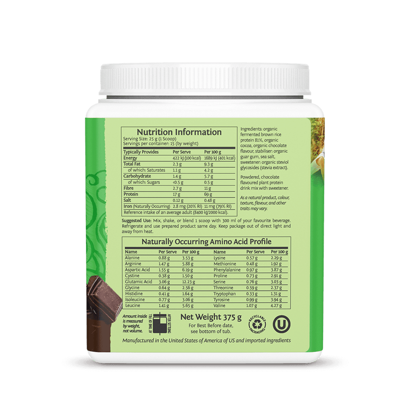Sunwarrior Classic Protein Chocolate 375g ingredients