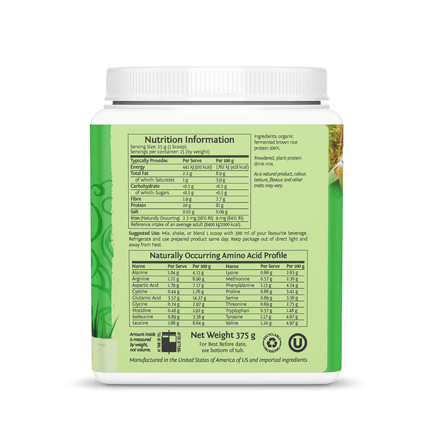 Sunwarrior Classic Protein Natural 375g ingredients