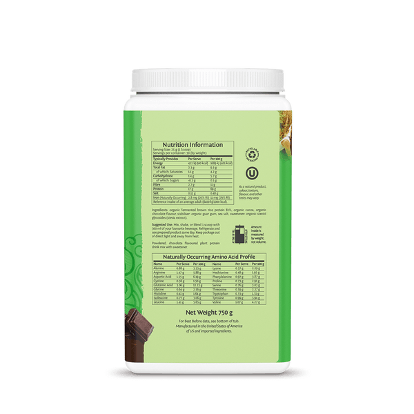 Sunwarrior Classic Protein Chocolate 750g ingredients