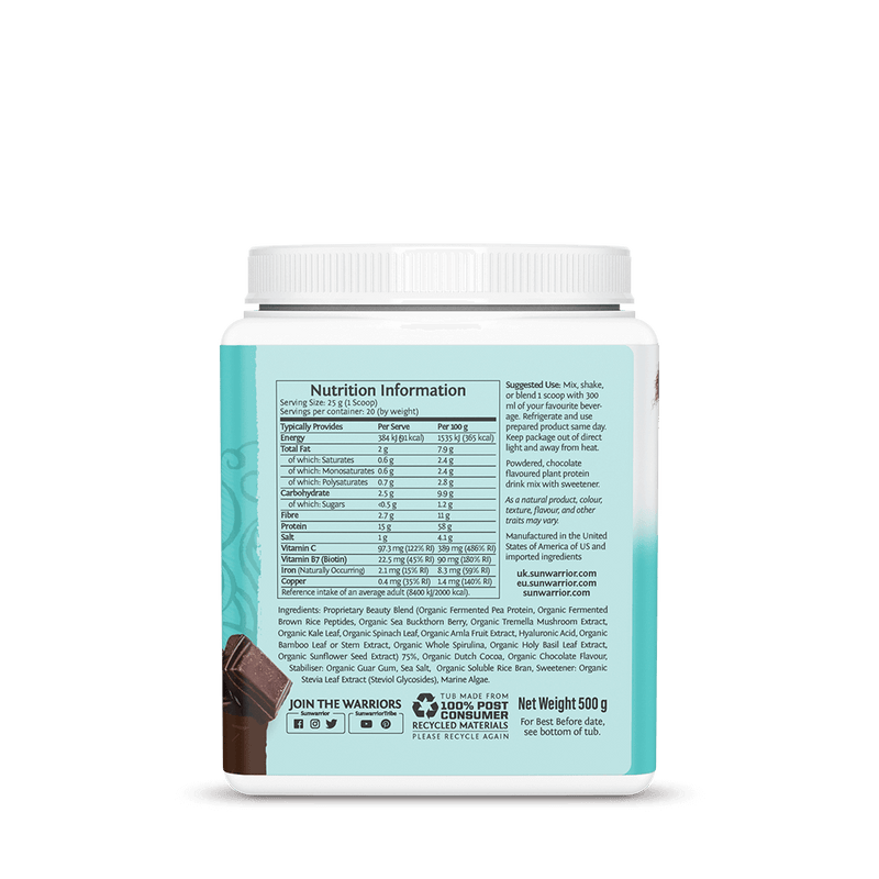 Sunwarrior Collagen Chocolate supplement facts