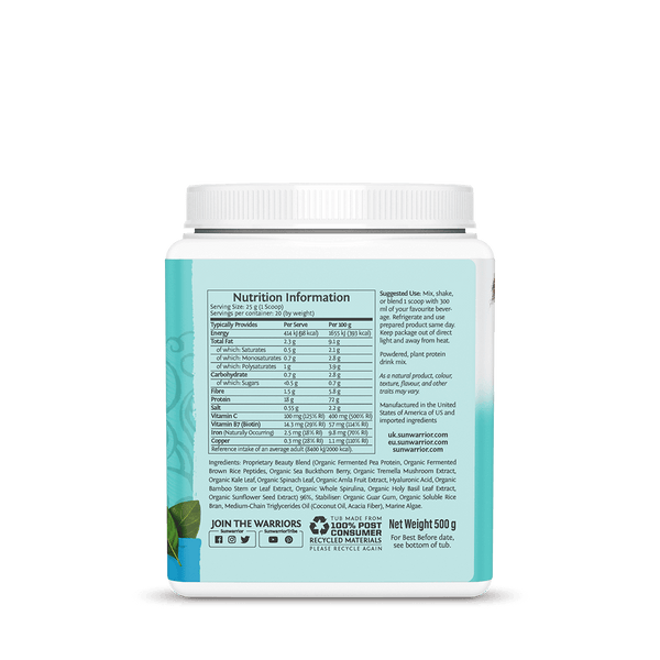 Sunwarrior Collagen Building Peptides supplement facts
