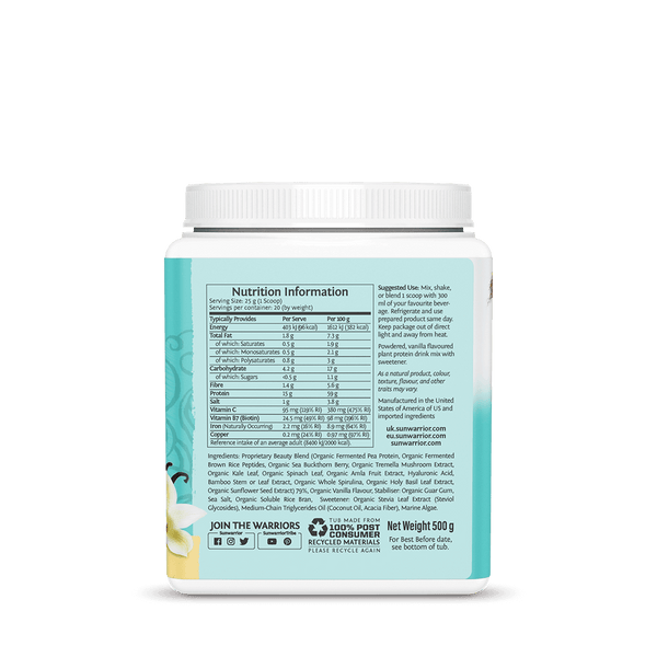 Sunwarrior Collagen Vanilla supplement facts